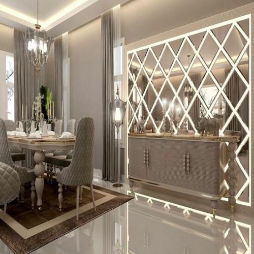 Зеркальное панно в гостиную с подсветкой